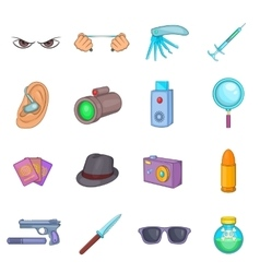 Spy and security icons set cartoon style vector