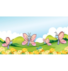 Butterflies in the garden vector image