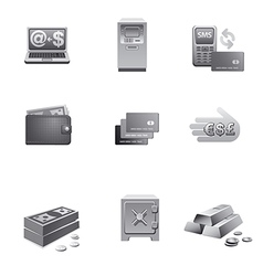 Banking icons grayscale vector