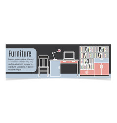 Furniture horizontal banner with table vector