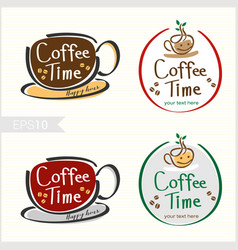 Set of hand drawn style coffee badge label logo vector