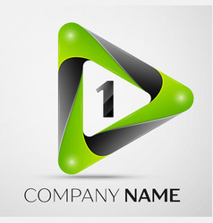 number one logo symbol in the colorful triangle on vector image