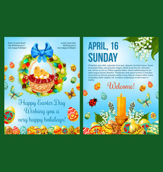 Easter day celebration cartoon poster template vector