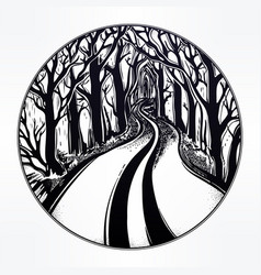 Empty road in the night through dark forest vector