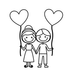 monochrome contour of caricature of boy and girl vector image
