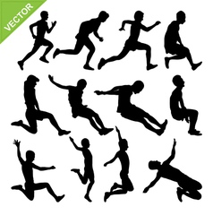 Long jump silhouettes vector