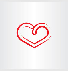 Stylized red heart symbol icon element vector
