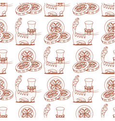 Seamless pattern with cat and coins with clover vector