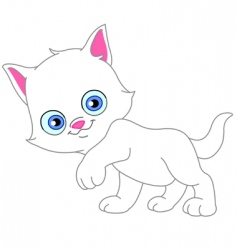 white kitten vector image
