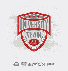 Rugby emblem university team and design elements vector