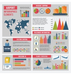 Airport infographics set vector