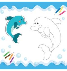 Coloring book dolphin vector
