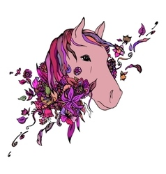 Abstract colored horse head print vector