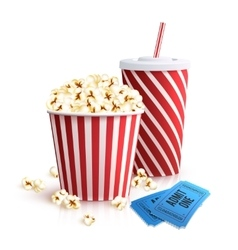 Cola Popcorn And Tickets vector image