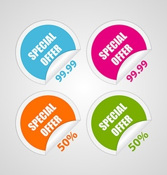 Set colorful circle special offer stickers vector