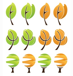 colorful nature stylized trees vector image