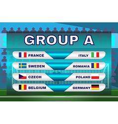 Group a soccer scoreboard vector