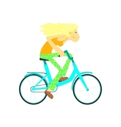 Girl fast riding bicycle vector