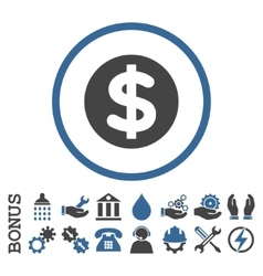 Finance flat rounded icon with bonus vector