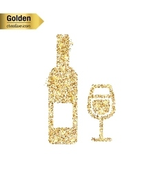 Gold glitter icon of wine bottle isolated vector