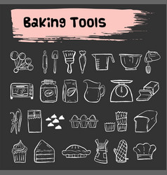 Baking tools doodle sketch icon set vector