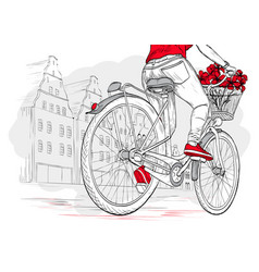 Bicyclist girl in red on city background vector
