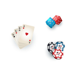 Casino symbols - playing cards tokens and dices vector