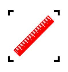 Centimeter ruler sign red icon inside vector