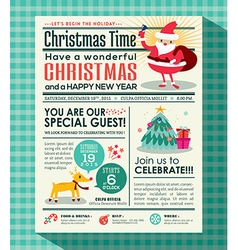 Christmas party poster invite newspaper style vector image vector image