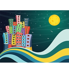 Colorful City Night vector image vector image