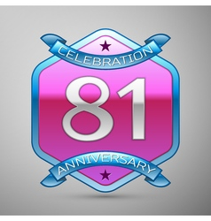 Eighty one years anniversary celebration silver vector