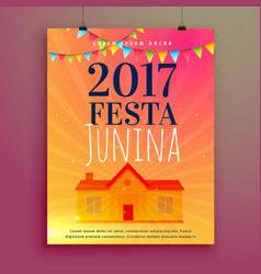 festa junina invitation card flyer design vector image