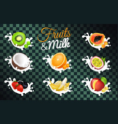 Fruit and milk poster with transparent background vector