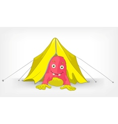 Funny monster camping vector
