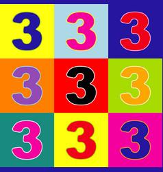 Number 3 sign design template element pop vector