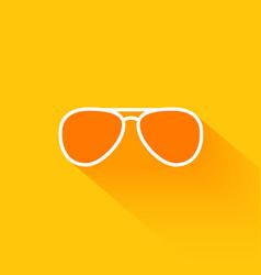 Orange summer sunglasses flat long shadow icon vector
