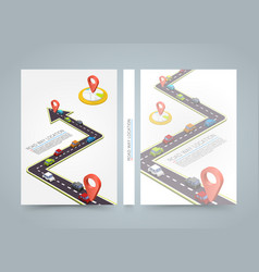Paved path on the road banner road book a4 size vector