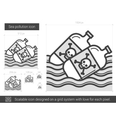 Sea pollution line icon vector