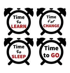 Set of clocks with text Isolated on white vector image vector image