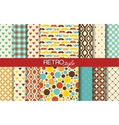 Set of colorful seamless retro patterns vector image vector image