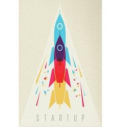 Startup business icon rocket ship color design vector image vector image