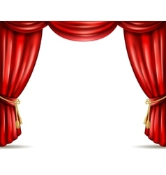 Theater curtain open flat banner vector