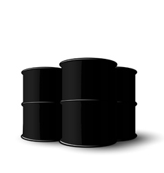 Three Black Metal of Oil Barrels Isolated on White vector image