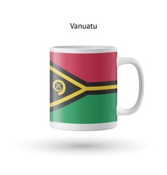 Vanuatu flag souvenir mug on white background vector image