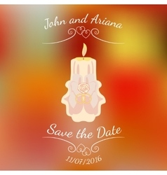 Wedding beige burning candle over abstract vector image