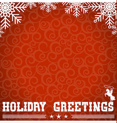 Western red christmas card with text and vector