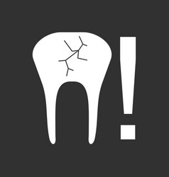 White icon on black background tooth fracture vector