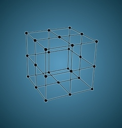 Wireframe mesh polygonal element Cube with vector image vector image