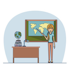 woman teacher with blonded ponytail on classroom vector image vector image