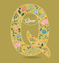 yellow letter q with floral decor and necklace vector image vector image